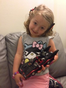 Tziona with LEGO Batmobile